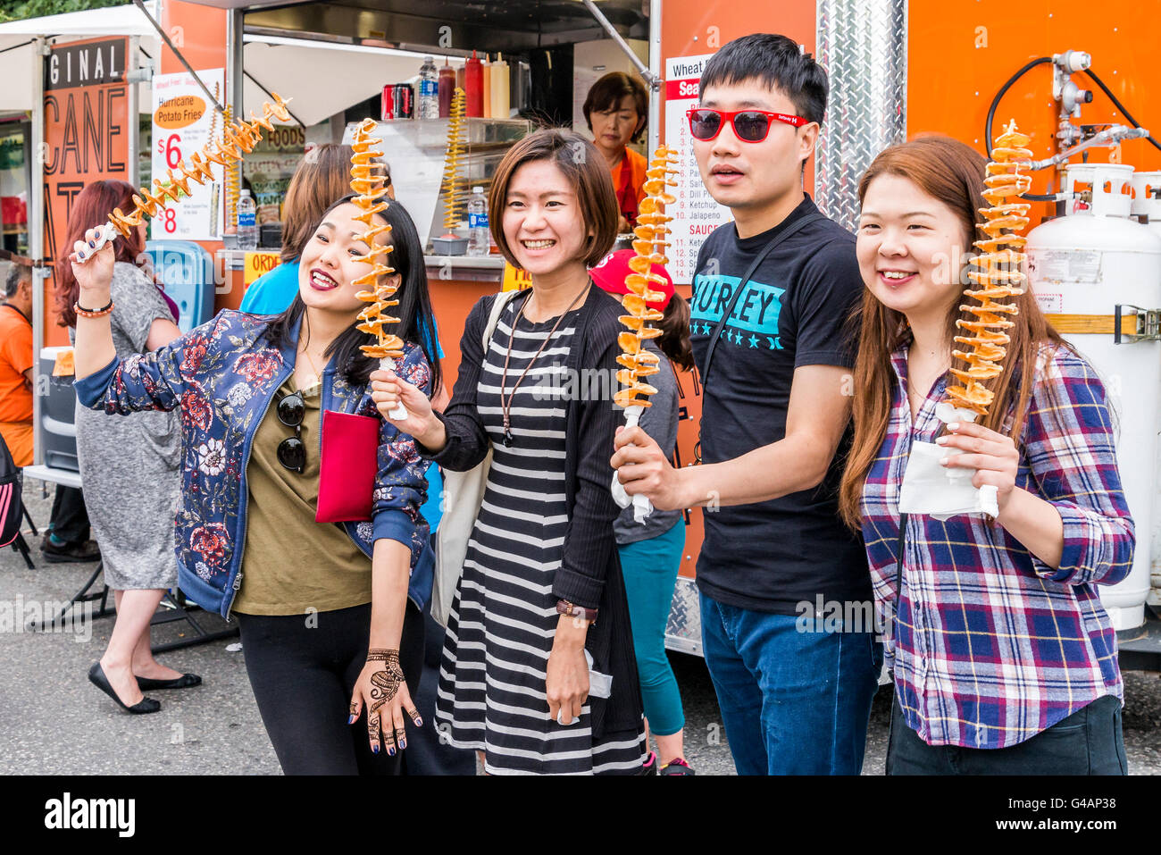 Spiral fries, Food Truck, Vancouver, British Columbia, Canada - Stock Image