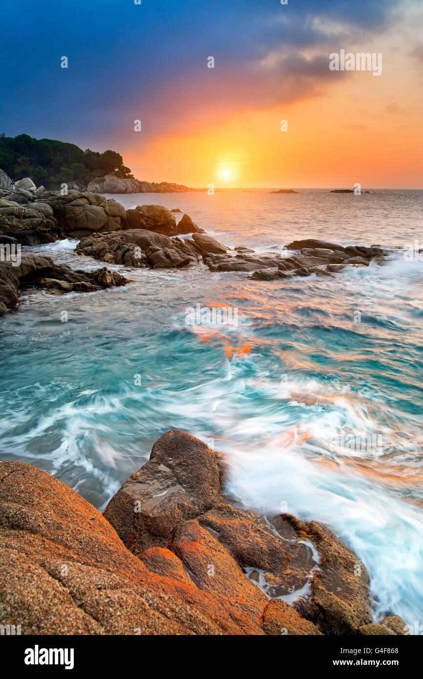 Sunrise at Costa Brava coastline, Spain - Stock Image