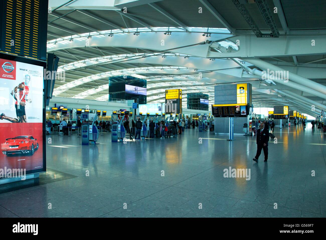 Interior of Terminal 5, Heathrow Airport,  London, England, UK, GB, - Stock Image