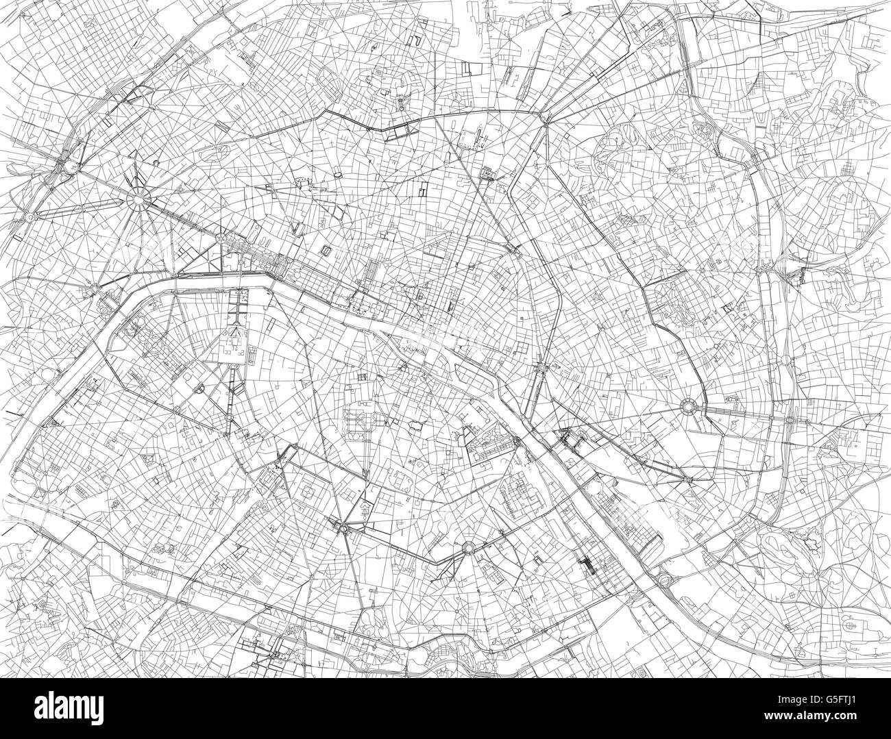 Map of Paris, satellite view, streets and highways, France Stock ...