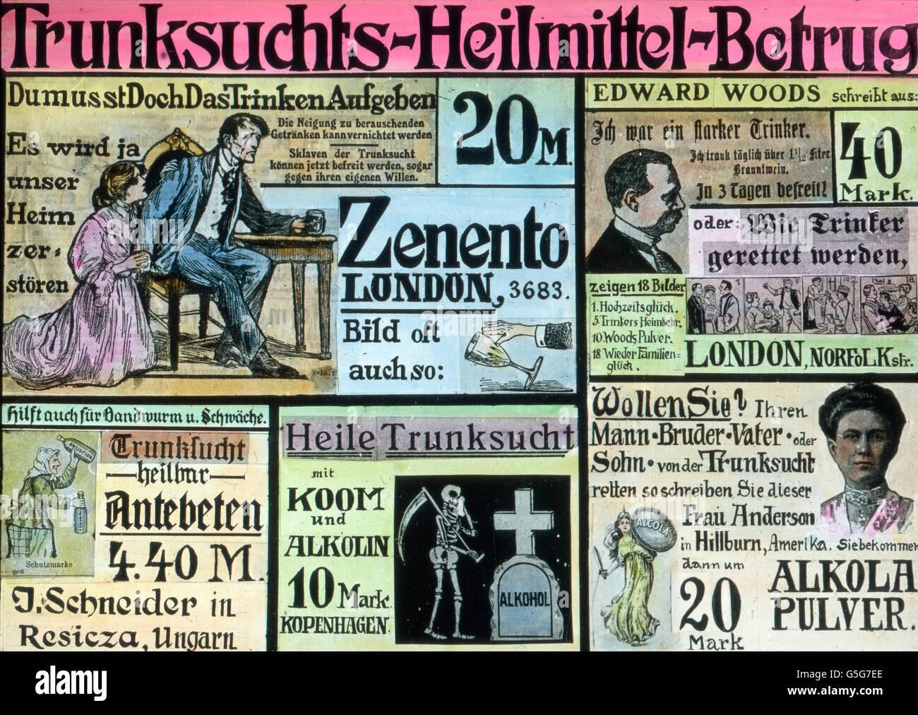Betrügerische Zeitungsanzeigen zur Heilung des Alkoholismus. Deceitful newspaper advertisements for healing - Stock Image