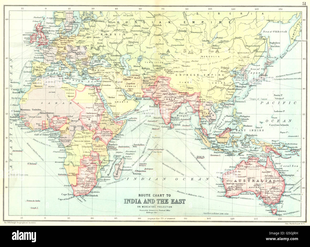 British empire route chart to india far east australia new stock british empire route chart to india far east australia new zealand 1909 map gumiabroncs Image collections