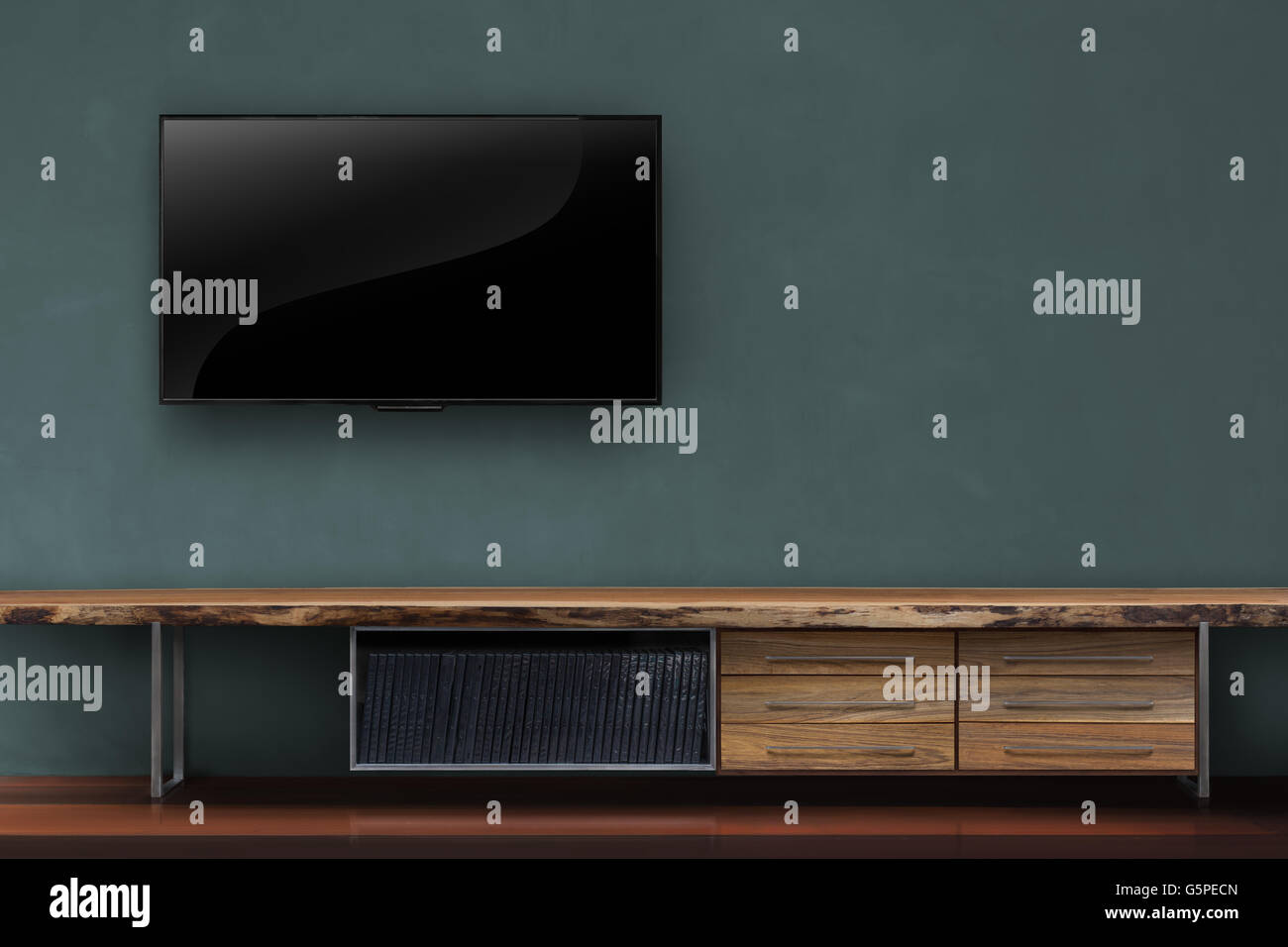 Living Room Led Tv On Dark Green Wall With Wooden Table Media Furniture Modern Loft Style