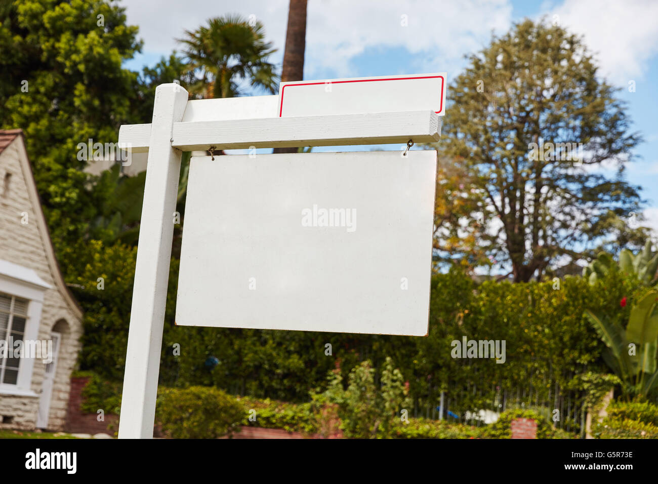 Empty sign on house for rent or lease in California, USA