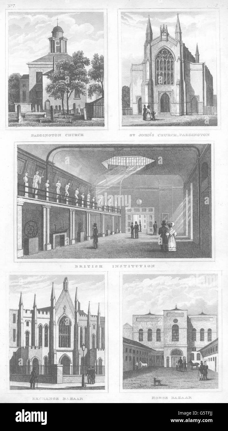 PADDINGTON: Church; St John's; Exchange & Baker Street Horse Bazaar, 1832 Stock Photo