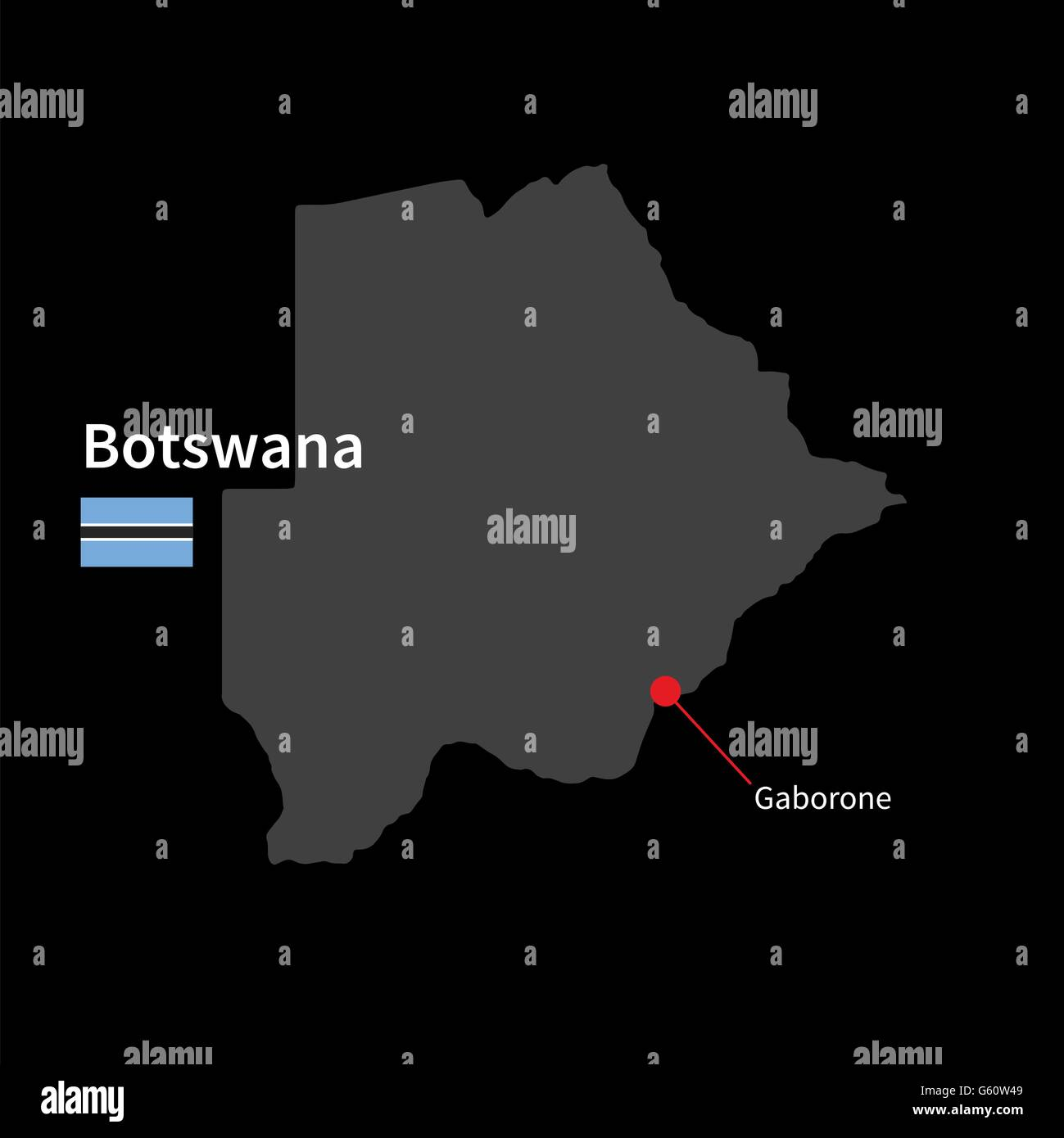 Detailed map of Botswana and capital city Gaborone with flag on