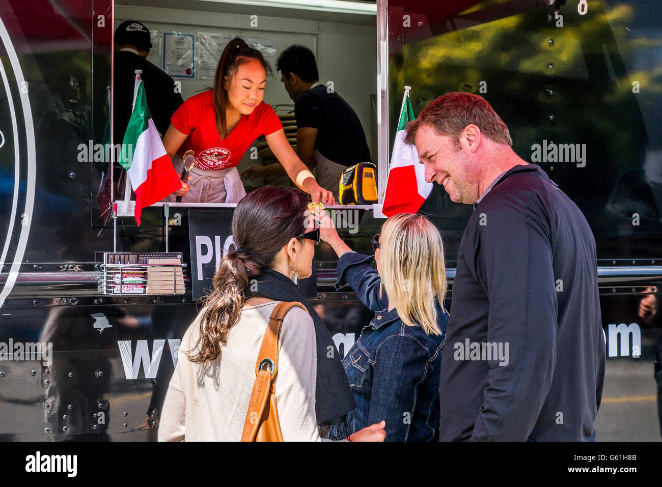 Pizza Food Truck, tIalian Day, Commercial Drive, Vancouver, British Columbia, Canada - Stock Image