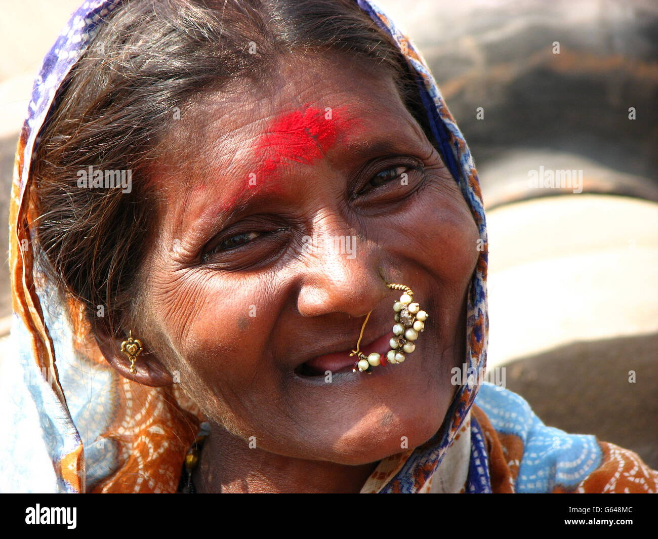 A Traditional Old Indian Woman Smiling