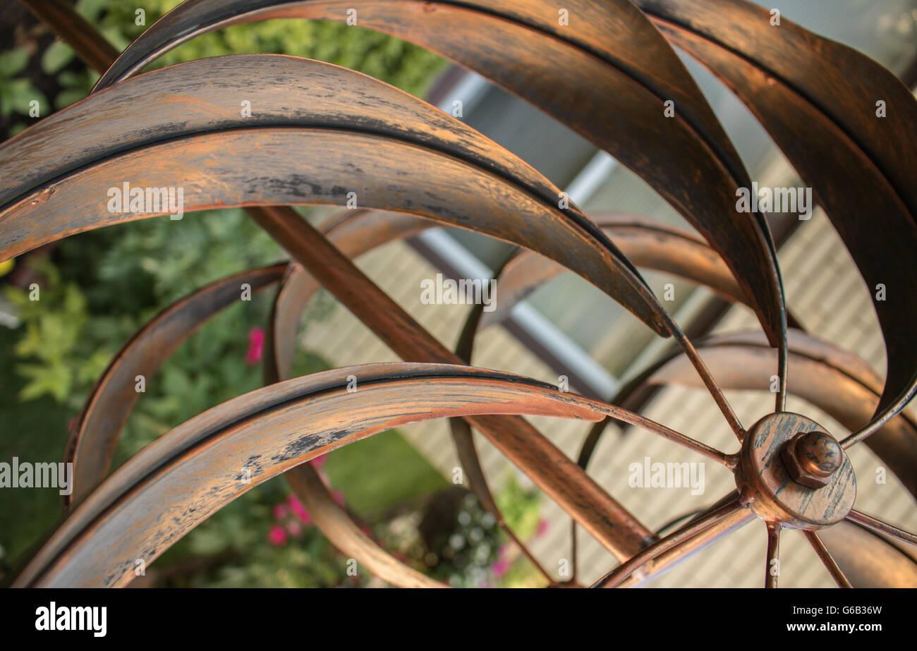 Nice Golden Metal Whirligig In Garden, Metal Golden Leafs In Garden,  Gardening,nice Leafs, Wind,nice Whirligig, Golden Whirligig