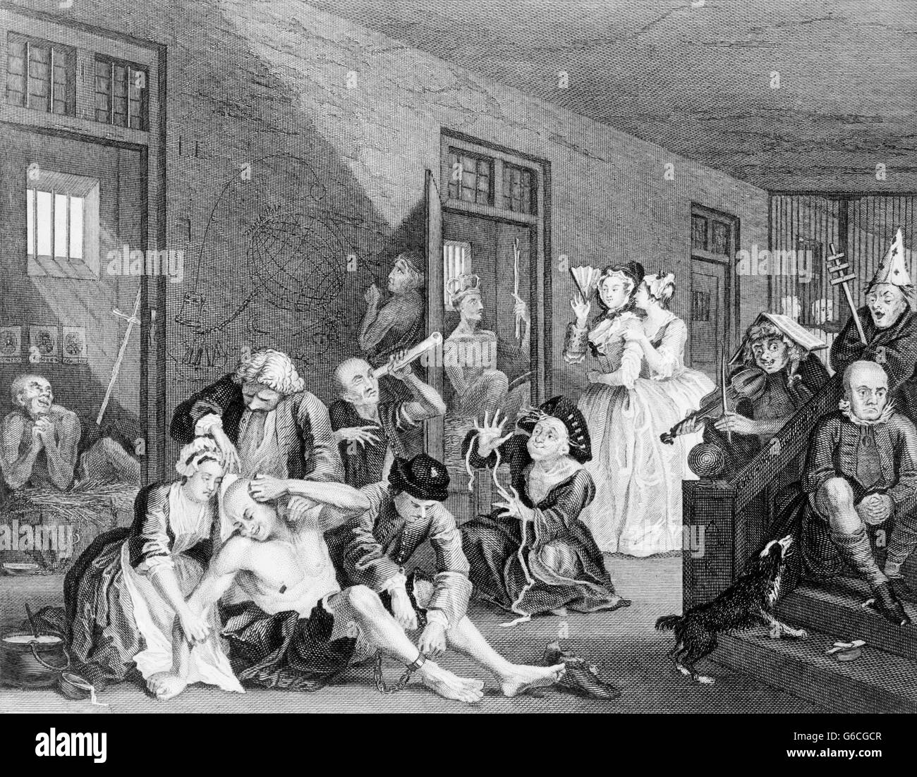1730s THE MADHOUSE 18th CENTURY BEDLAM INSANE ASYLUM FROM A PAINTING BY WILLIAM HOGARTH CIRCA 1735 - Stock Image