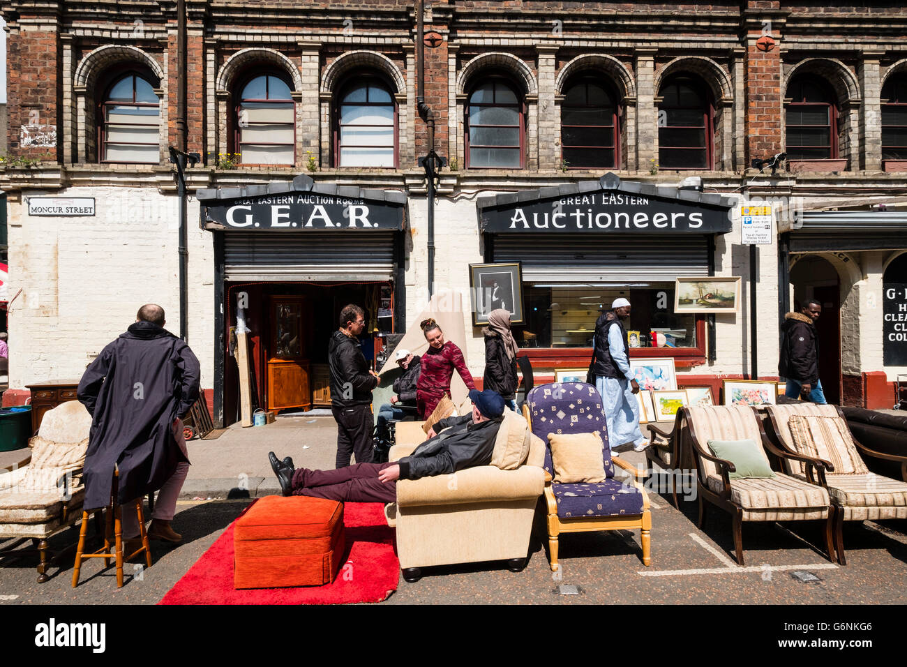 Exterior of second hand furniture shop at Barras Market in Gallowgate Glasgow United Kingdom & Exterior of second hand furniture shop at Barras Market in ...