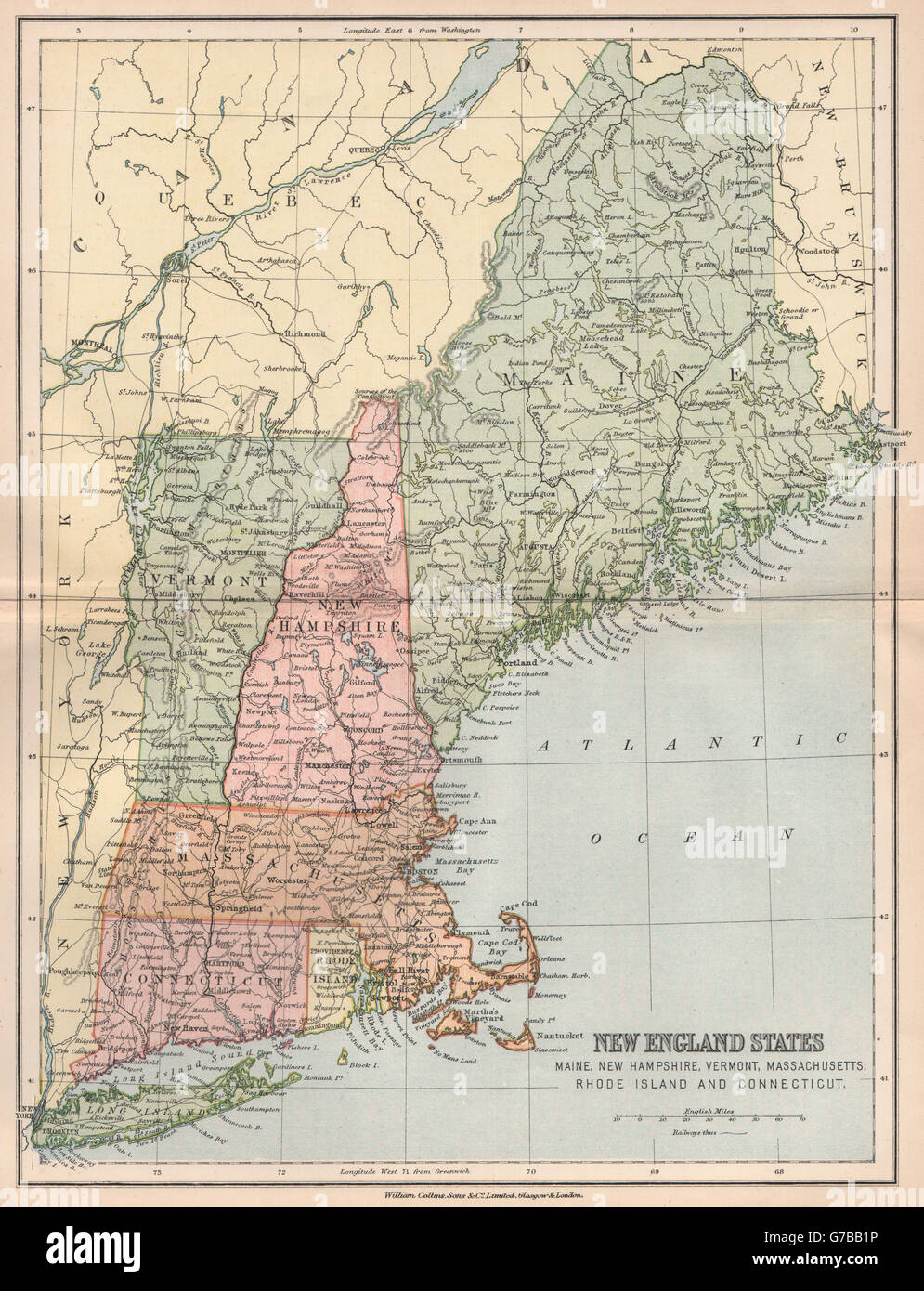 Old New England Map.New England Usa Maine Nh Vermont Massachusetts Ri Connecticut 1878