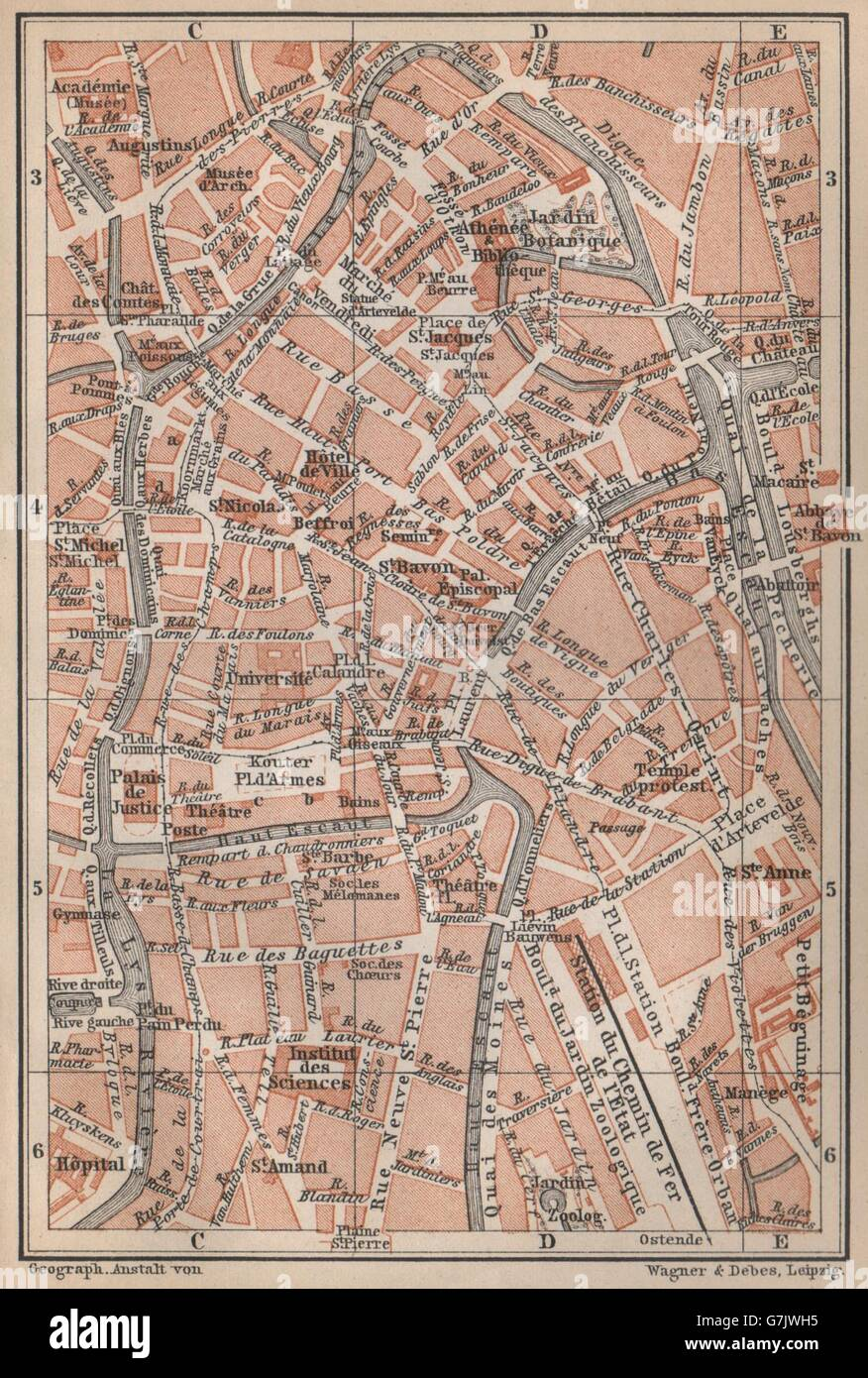 GHENT GENT GAND antique town centre City plan Belgium carte 1897