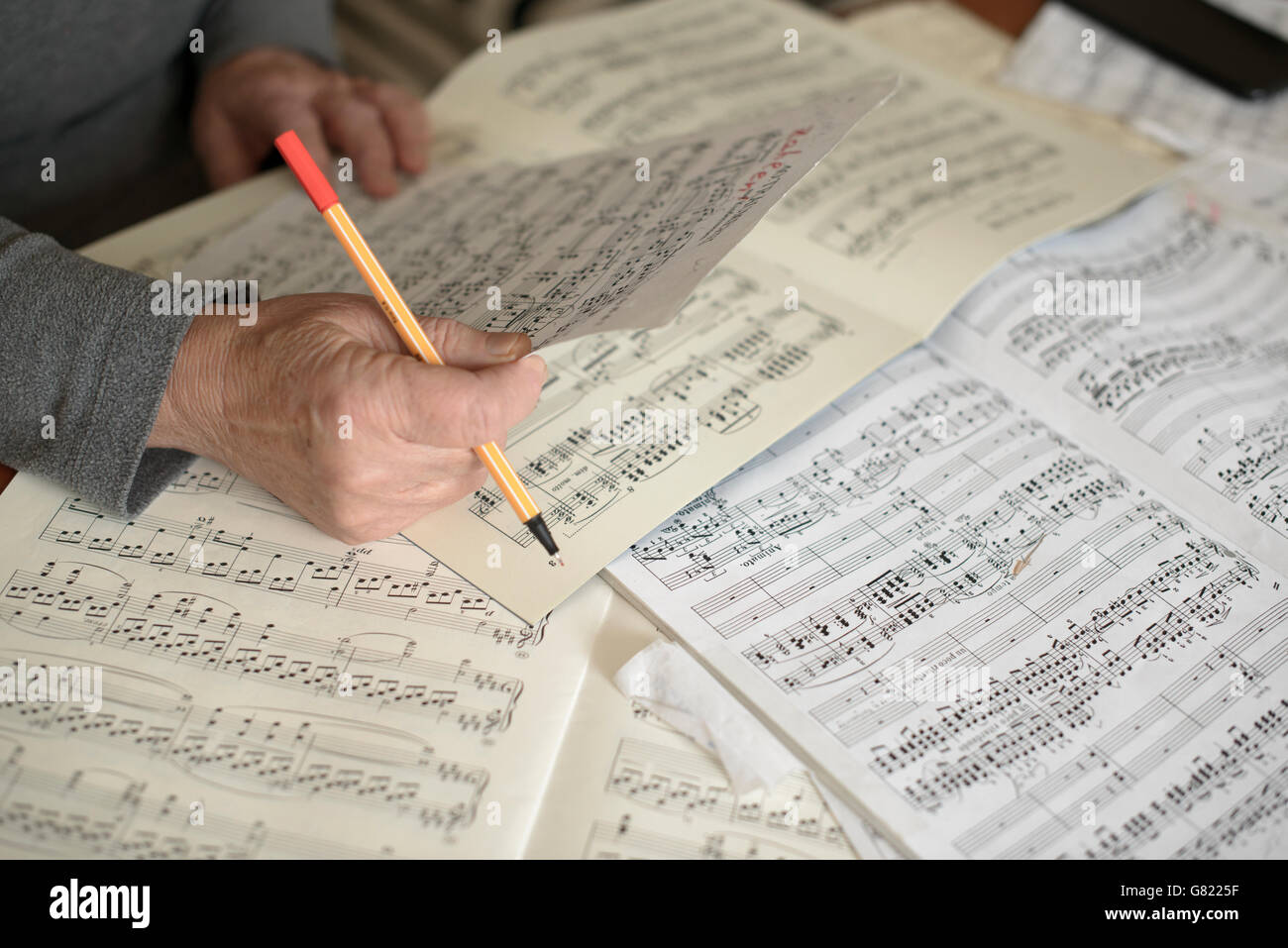 Musician reading and editing  music scores-close-up - Stock Image