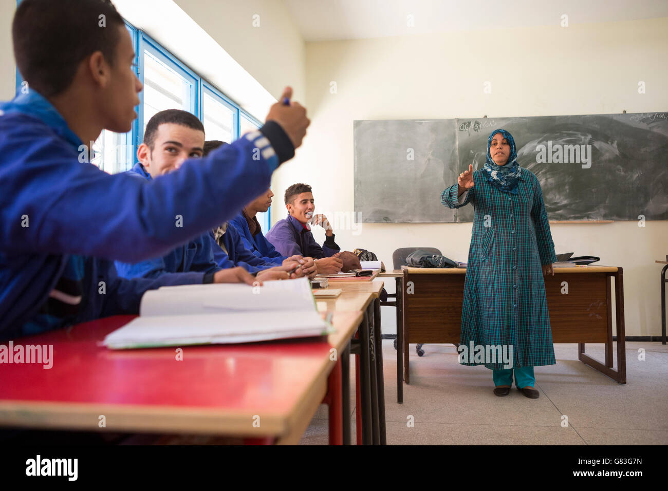 Students learn in a vocational training course in Agadir, Morocco. - Stock Image