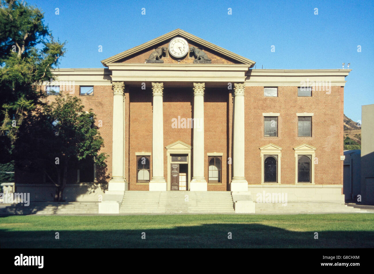 "Archive image of Hill Valley courthouse set from ""Back to the Future"" (1985), Courthouse Square, Universal Studios Stock Photo"