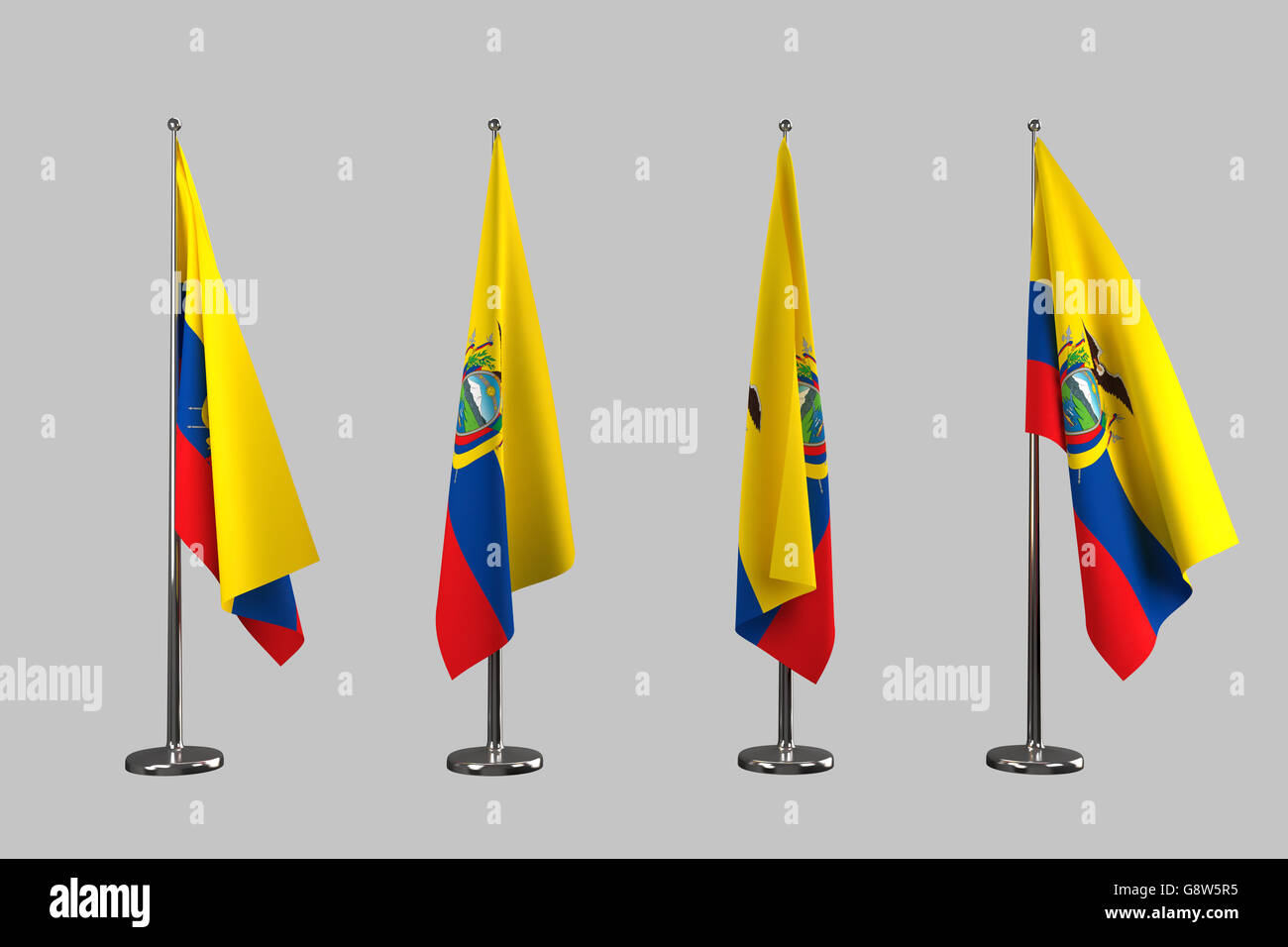Ecuador indoor flags isolate on white background - Stock Image