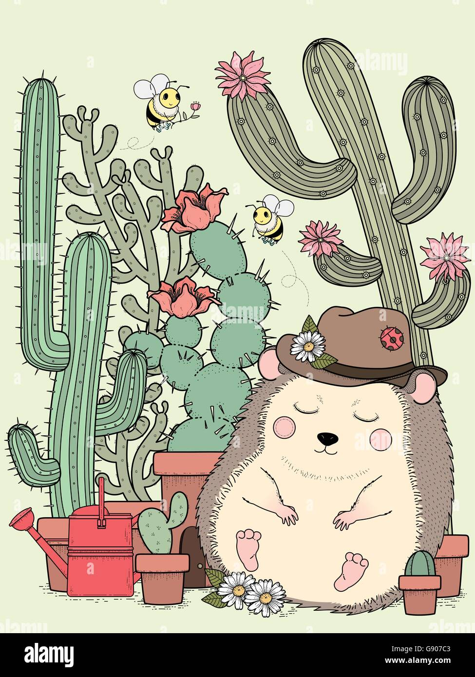 adorable hedgehog with cactus - adult coloring page Stock Vector Art ...