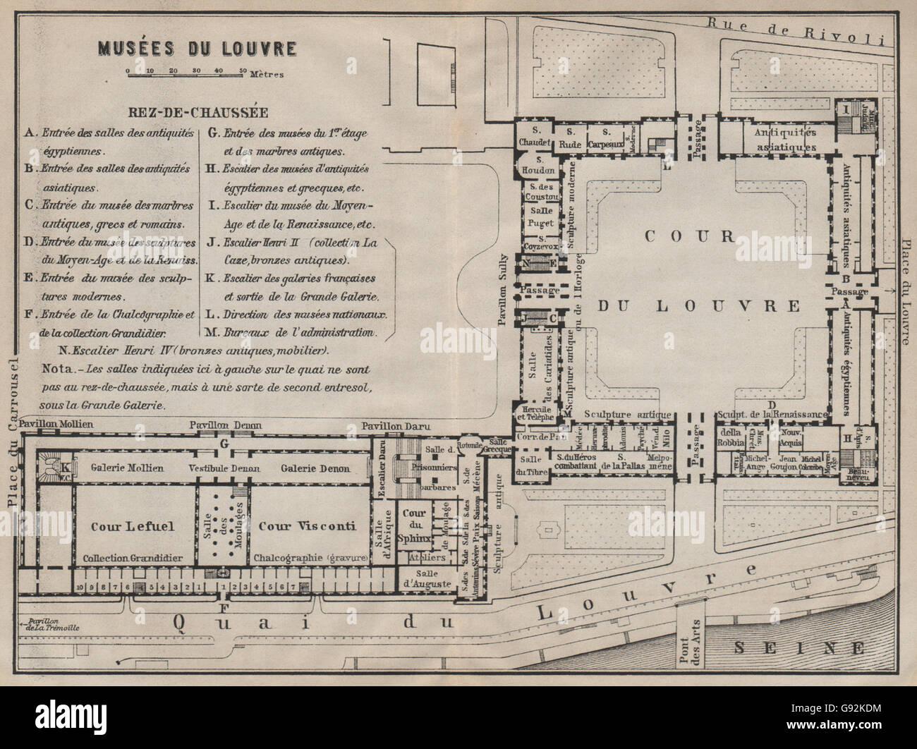 Elegant MUSÉES DU LOUVRE; REZ DE CHAUSSÉE Ground Floor Plan. Paris Carte,