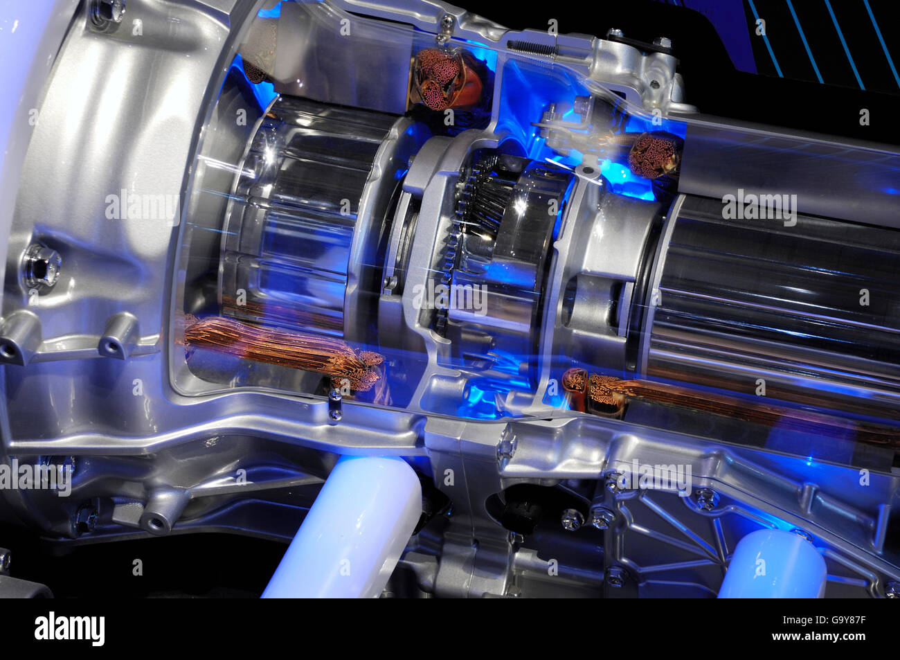 lexus hybrid car electric motor close up stock photo