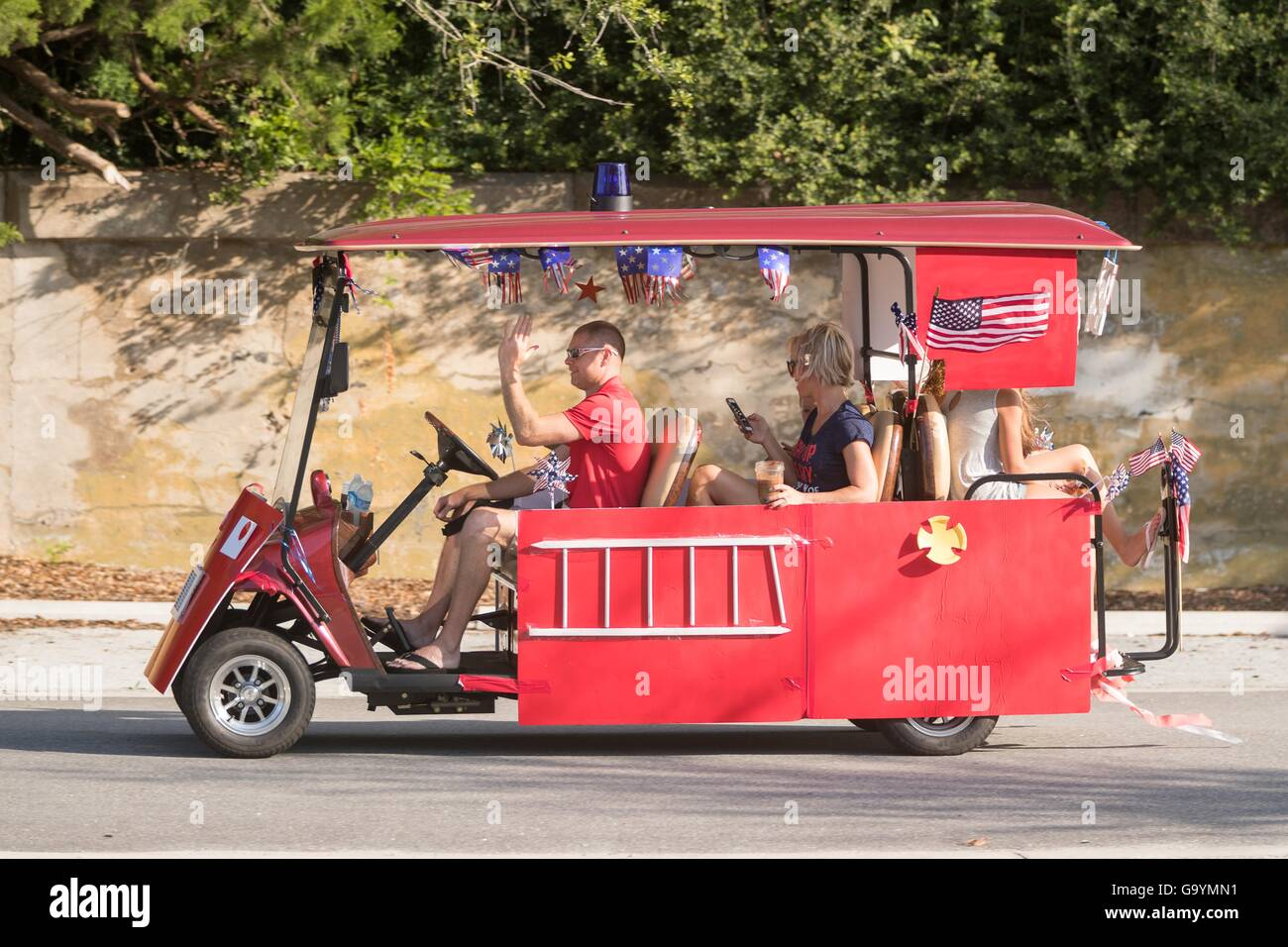 A decorated golf cart during the Sullivan's Island Independence Day on