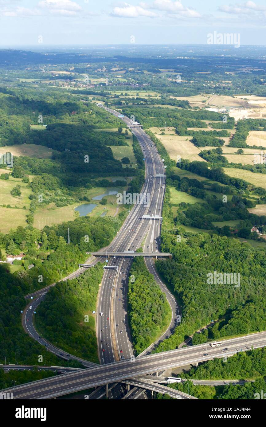 Aerial photo of M23 flyover M25, near Redhill, Surrey, England, UK, GB - Stock Image