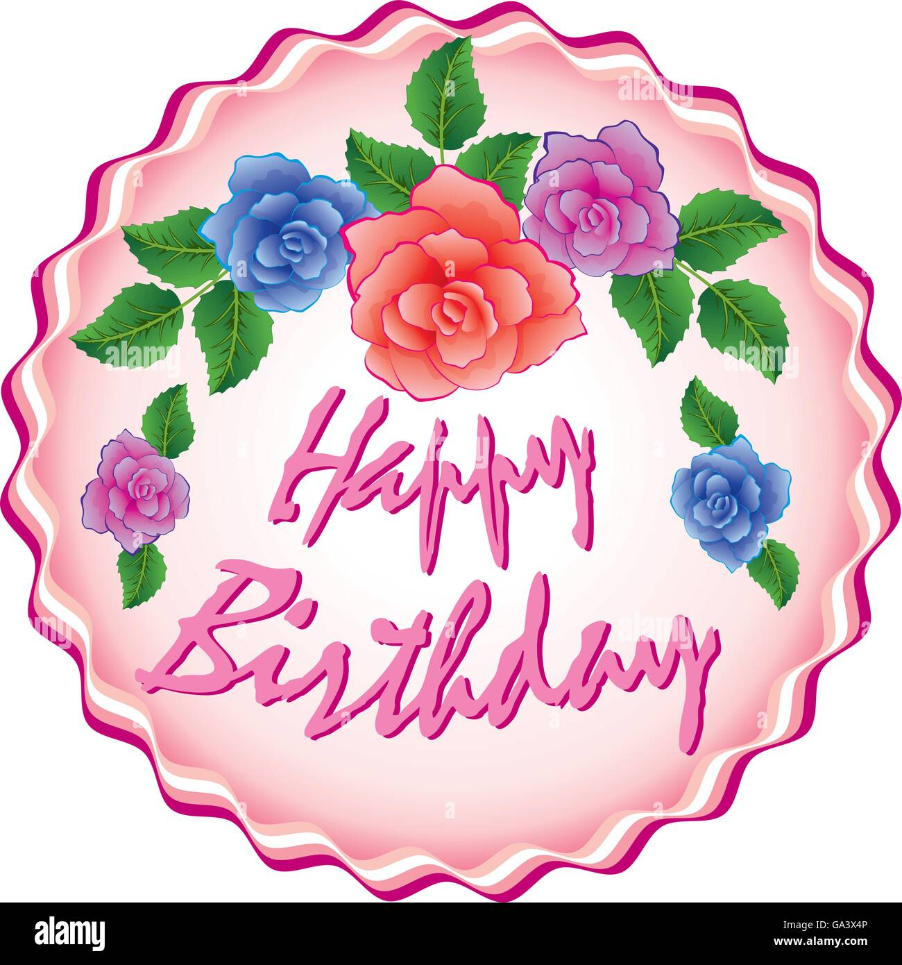 Vector Birthday Cake With Roses Stock Vector Art Illustration