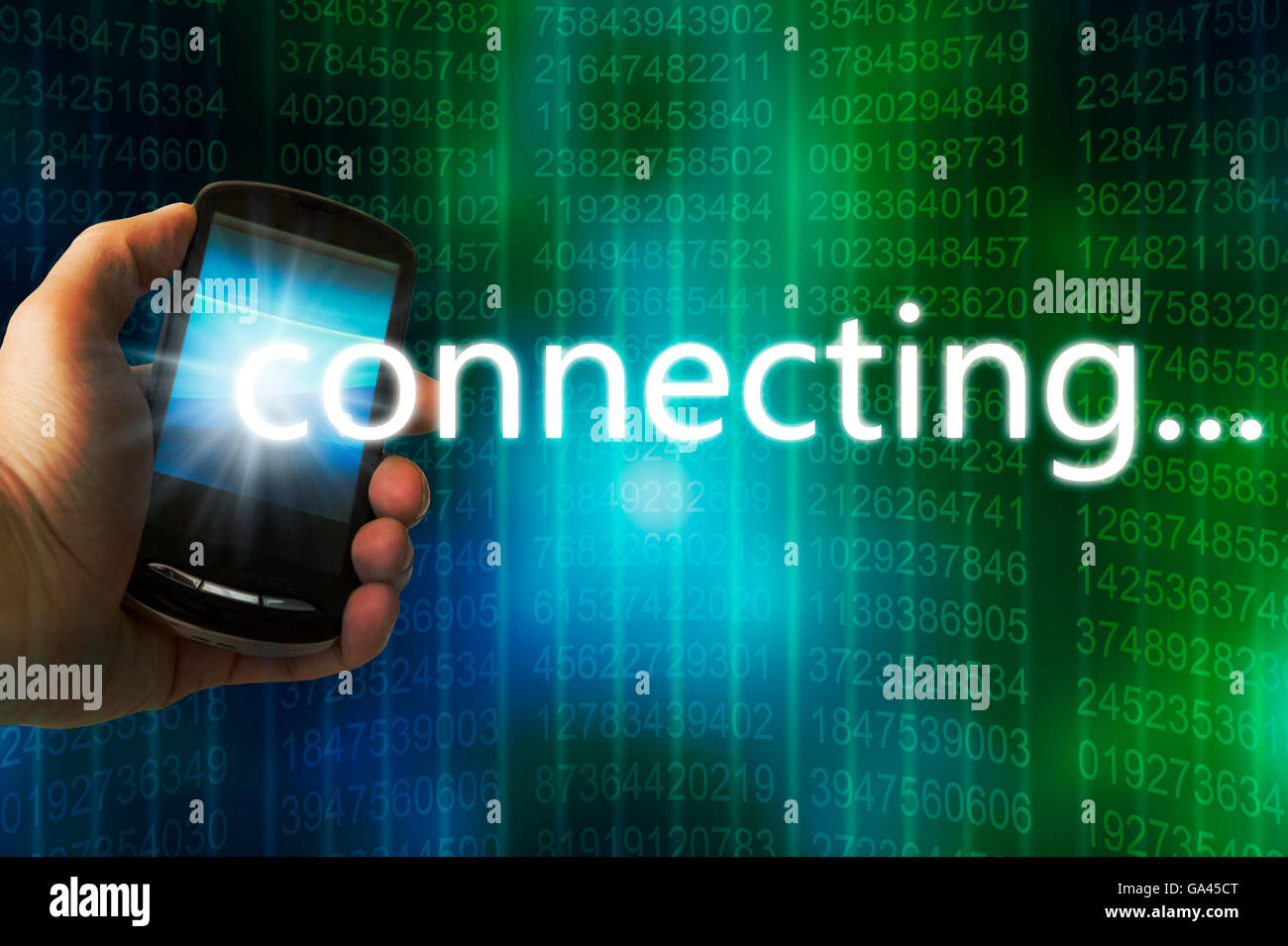 hand holding a cellphone connecting to a wireless network - Stock Image