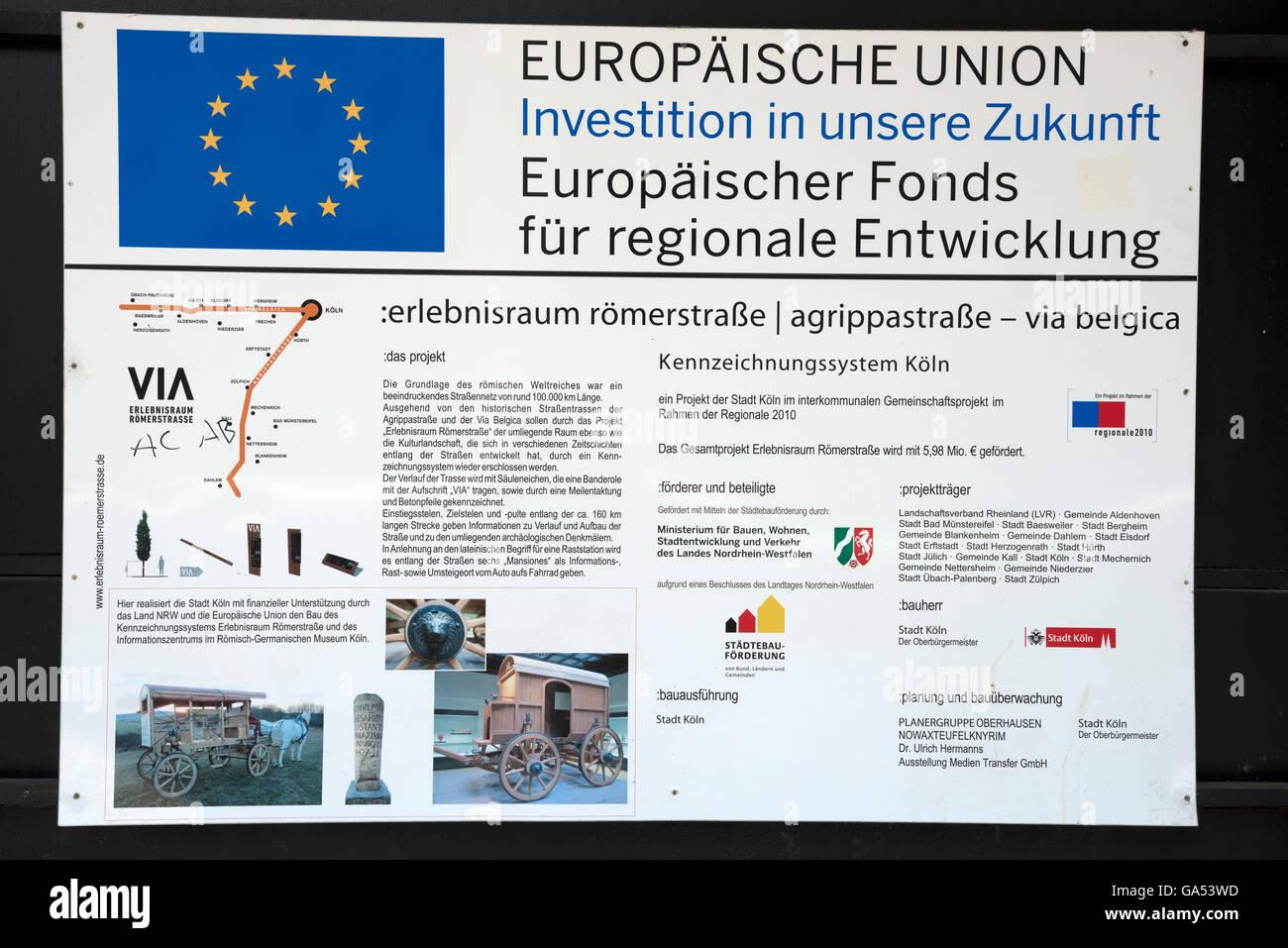 European Union funding sign (Germany) - Stock Image