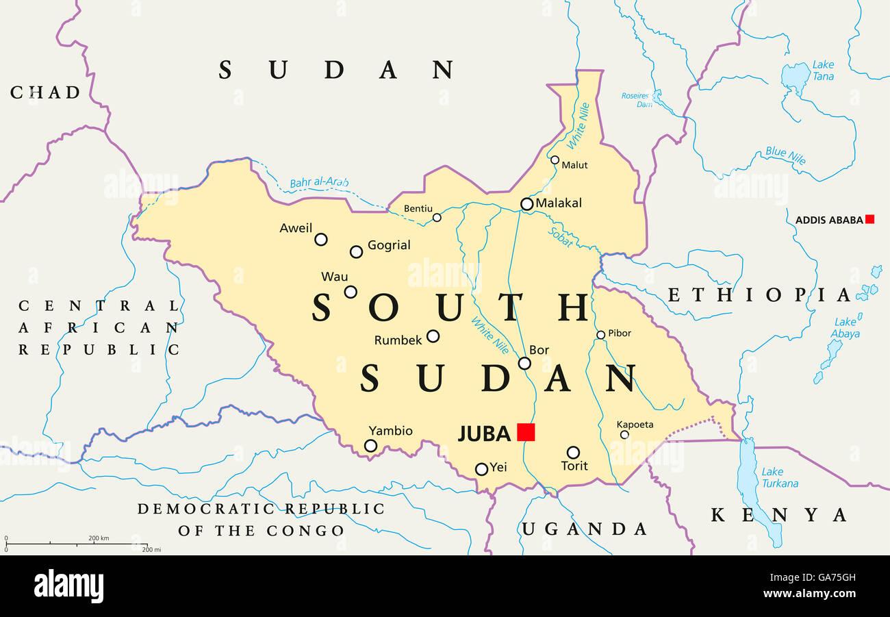 South Sudan political map with capital Juba, national borders Stock ...