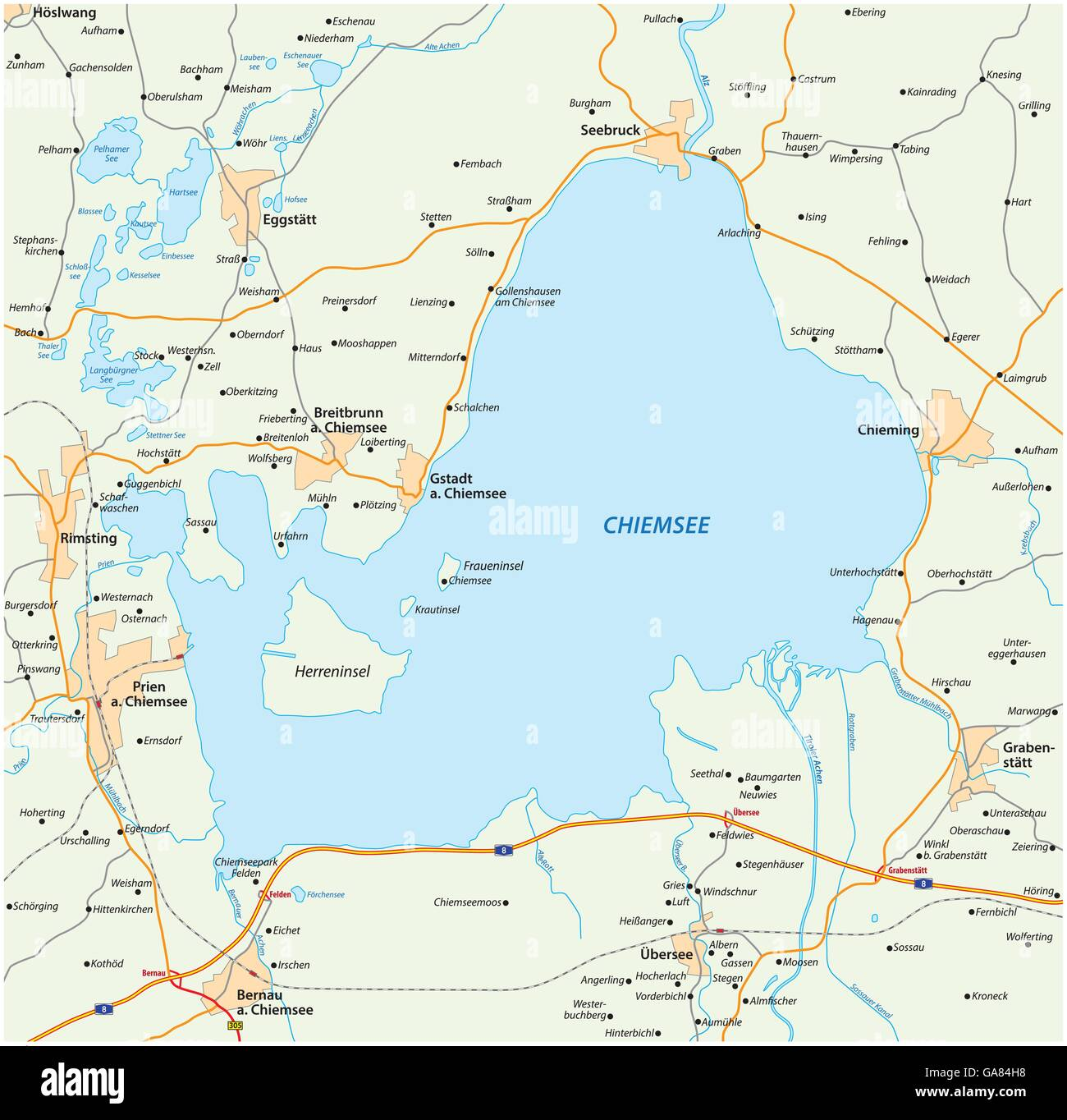 vector road map of the Bavarian lake Chiemsee Germany Stock Vector