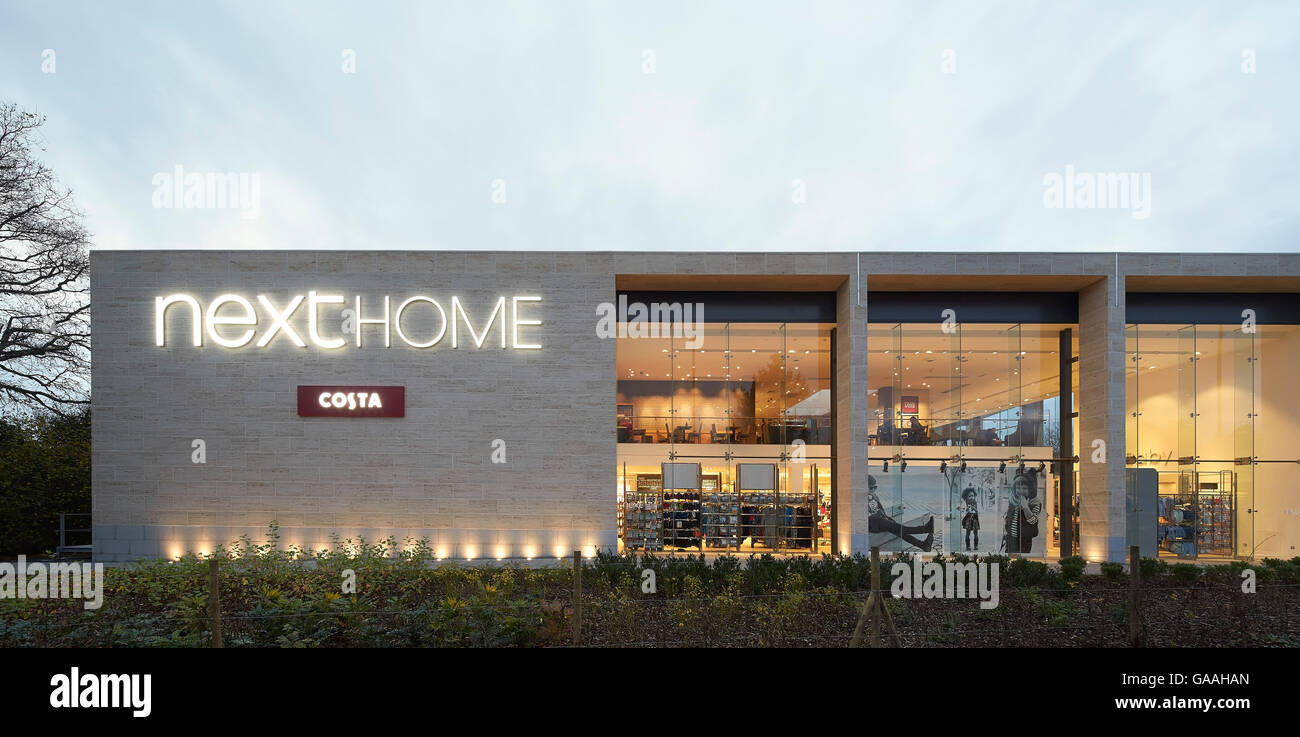 Exterior facade with logo and full-height glazing to interior. Next -  Home and Garden Stores, Southampton, United - Stock Image