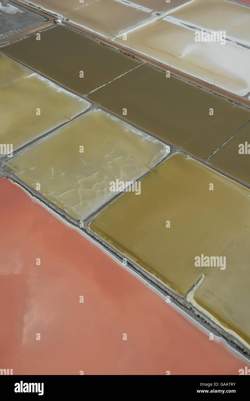 Aerial view of Salin de Giraud, Camargue, France, July. - Stock Image