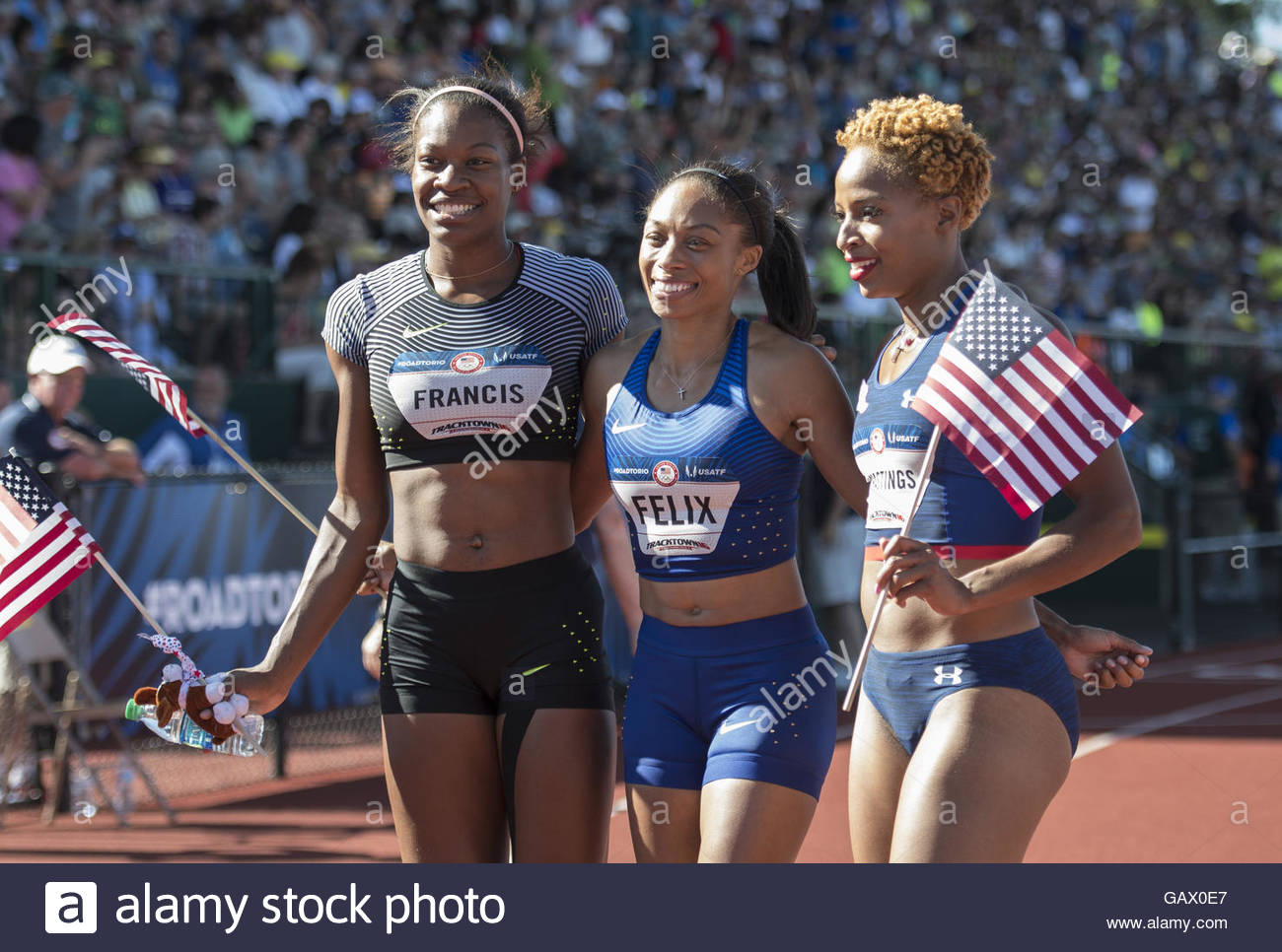 Eugene, Oregon, USA. 3rd July, 2016. USATF Olympic Trials, Eugene, Oregon- (left-right) PHYLLIS FRANCIS (second - Stock Image