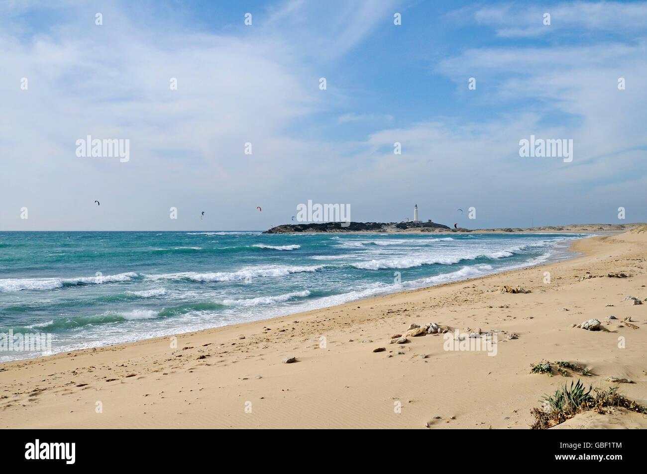 Playa De Canos De Meca Beach Kitesurfers Cabo De Trafalgar At The