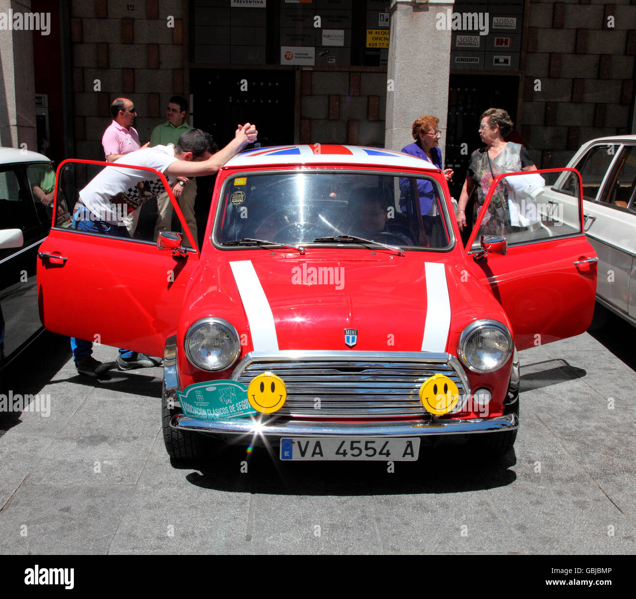 Classic British Mini on show in Segovia - Stock Image