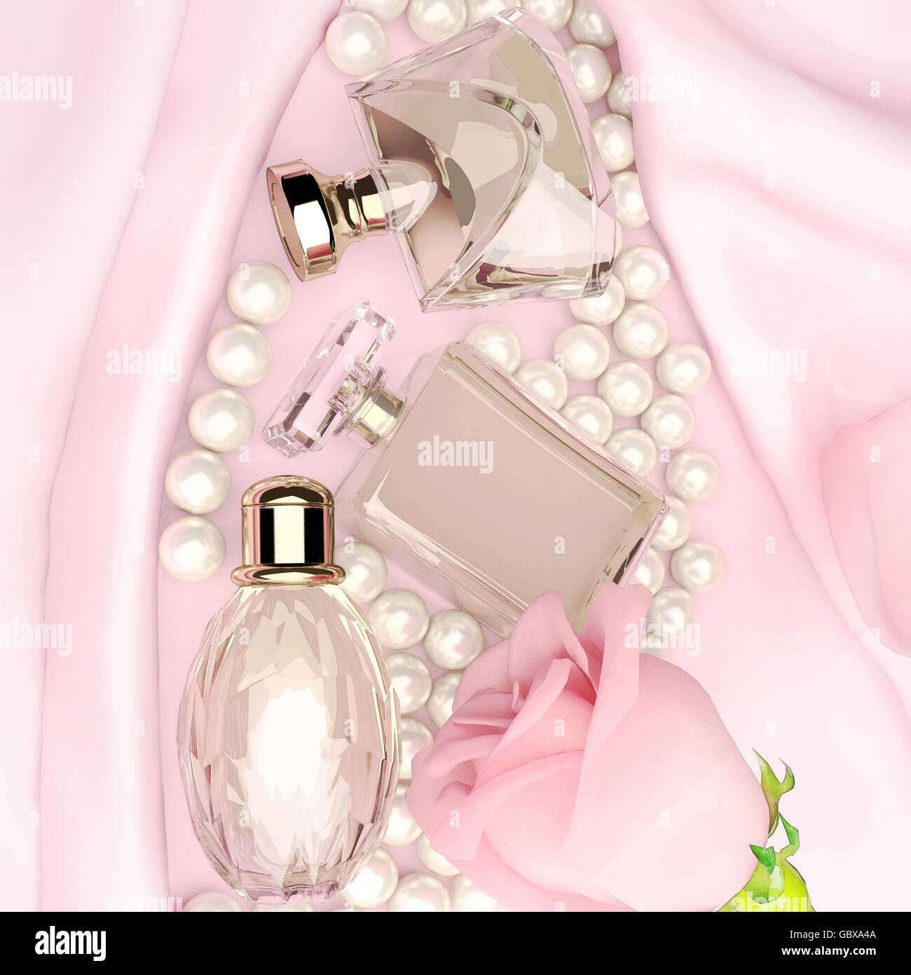 Perfume Bottles And Flower Rose Petals And Pearls On Pink Silk