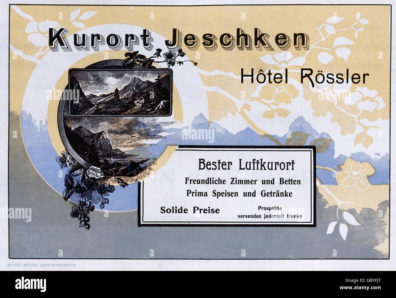 advertising, tourism, advertisement for Hotel Rössler at Jeschken ...