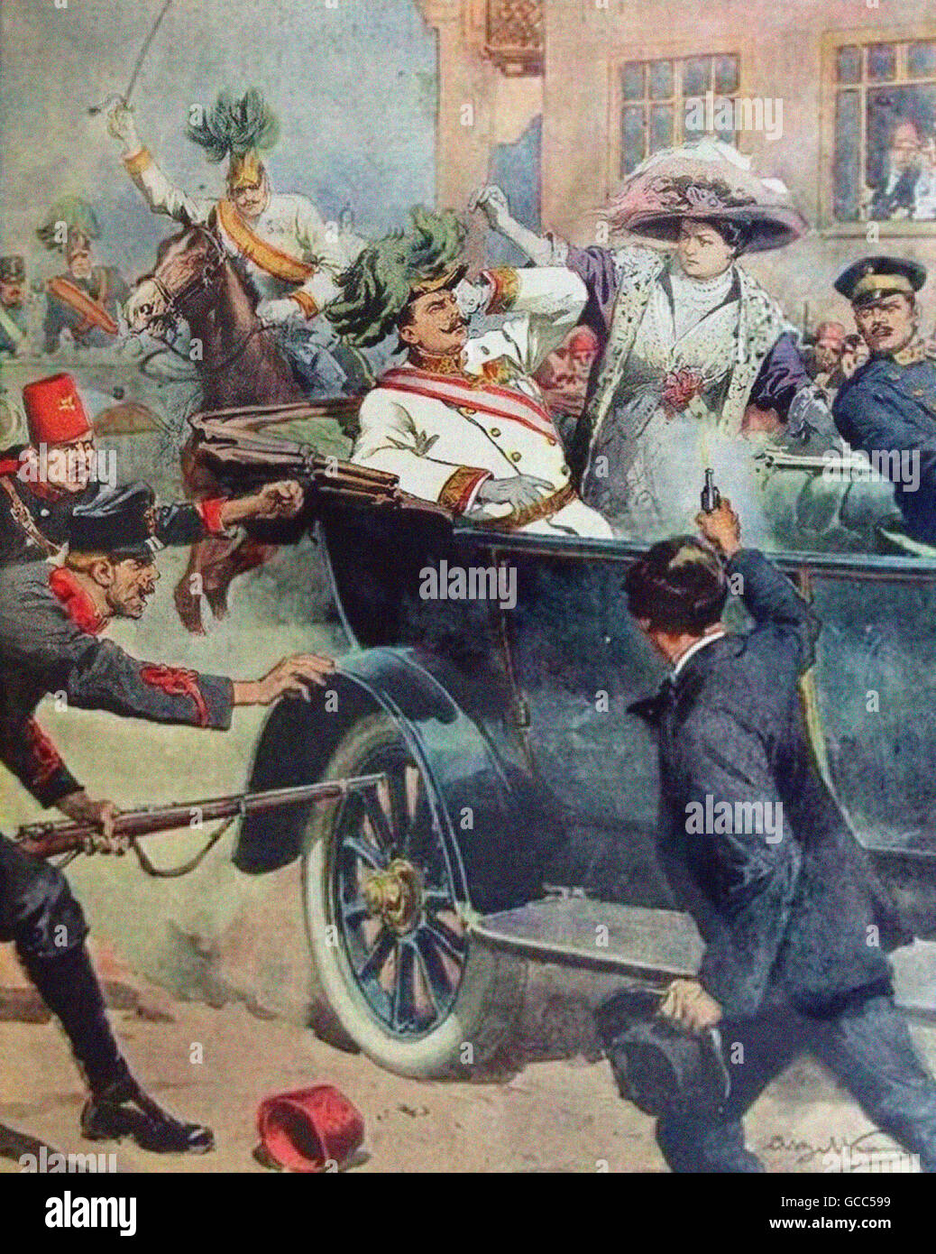 Assassination of Archduke Franz Ferdinand of Austria on 28th June 1914, - Stock Image