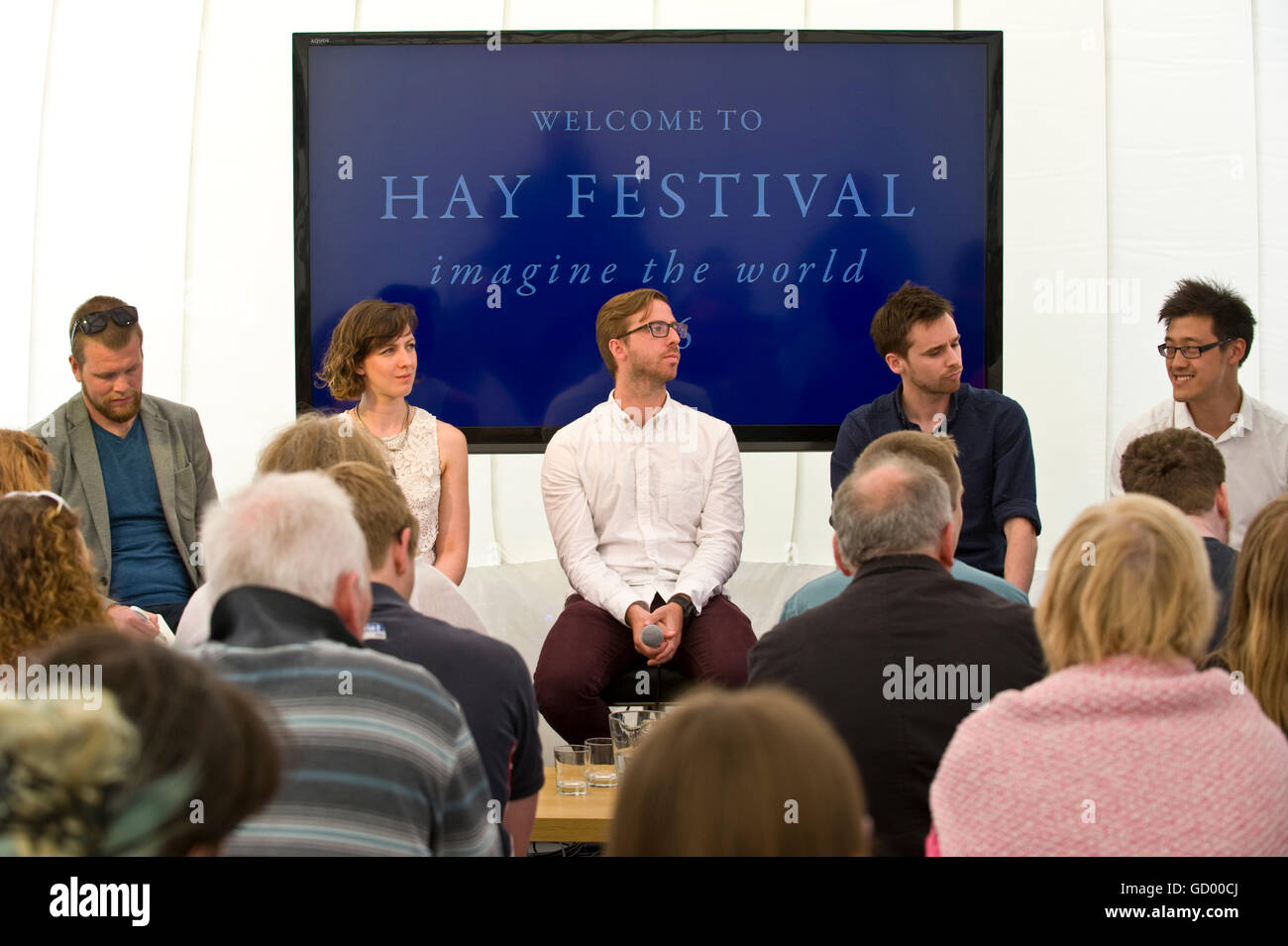 Panel & audience at NACUE Panel Discussion on Young Entrepreneurship and Innovation at Hay Festival 2016 - Stock Image