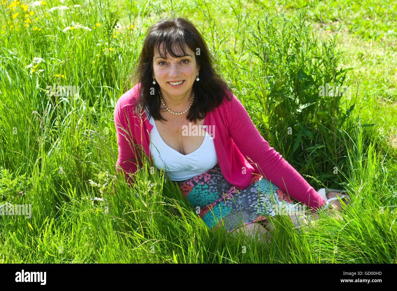 Lucy Pinney who writes about finding love in the countryside pictured at Hay Festival 2016 - Stock Image
