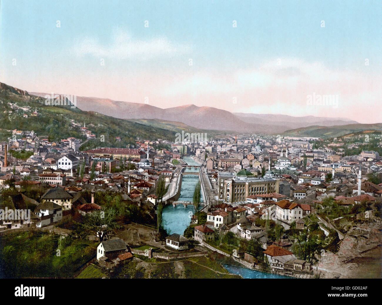 View over Sarajevo from the North at the end of the 19th century. Photochrom print from Detroit Publishing Co, c.1890 - Stock Image