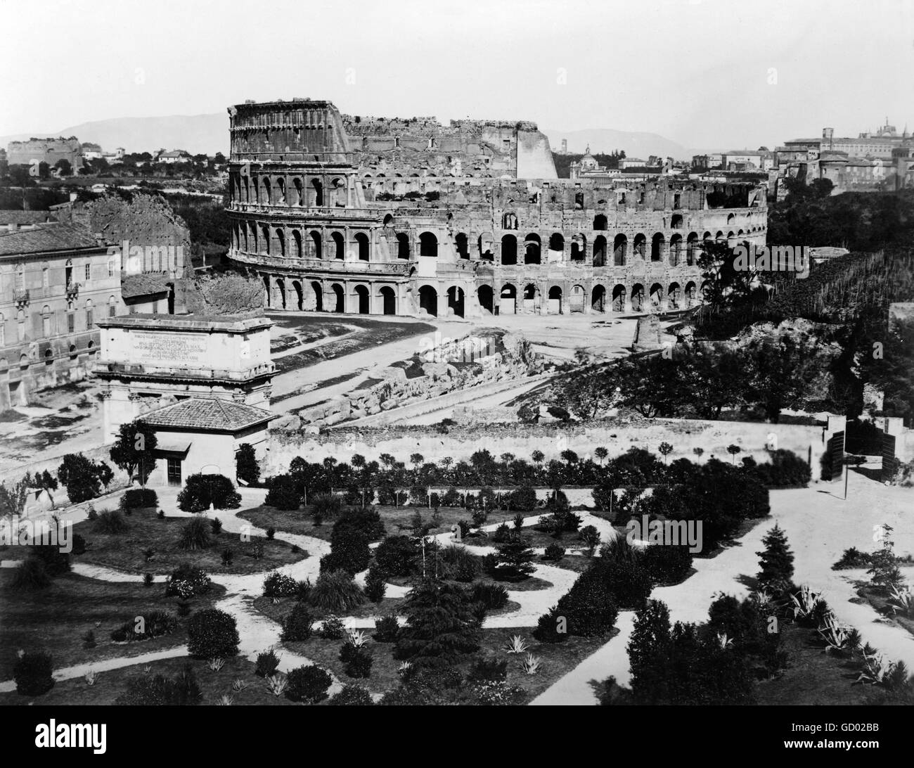 Colosseum, Rome. 19th century view of the Colosseum in Rome. Photo taken between 1860 and 1890 - Stock Image
