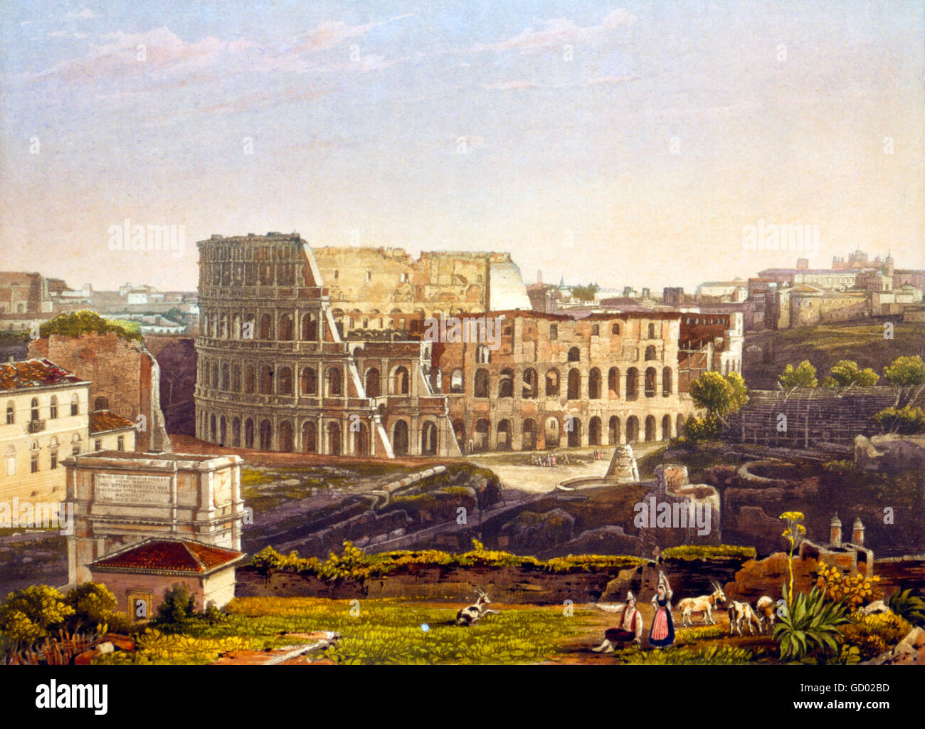 Colosseum, Rome. 19th century view of the Colosseum in Rome. Etching with aquatint from a daguerrotype by Noël - Stock Image