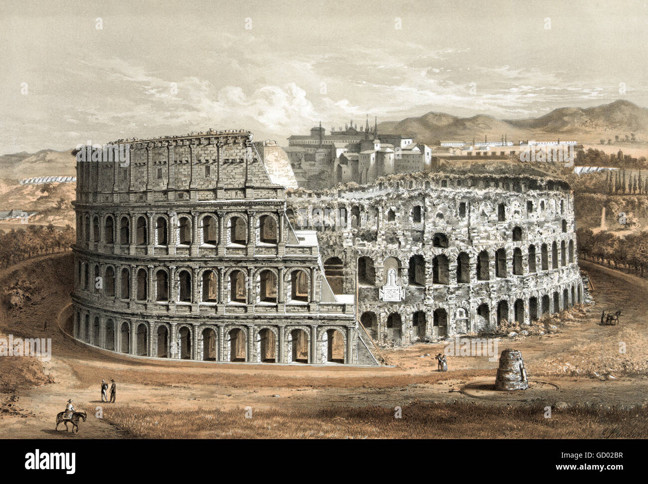 Colossseum in Rome.19th century illustration showing 'original structure and deteriorated state'. Lithograph - Stock Image