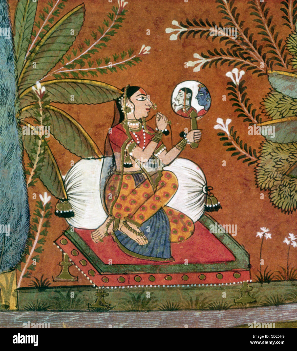 Fine Arts India Radha Is Looking Into A Hand Mirror Were She Is