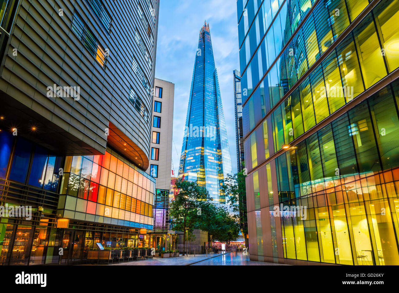 Street view of modern buildings in London, including The Shard Stock Photo