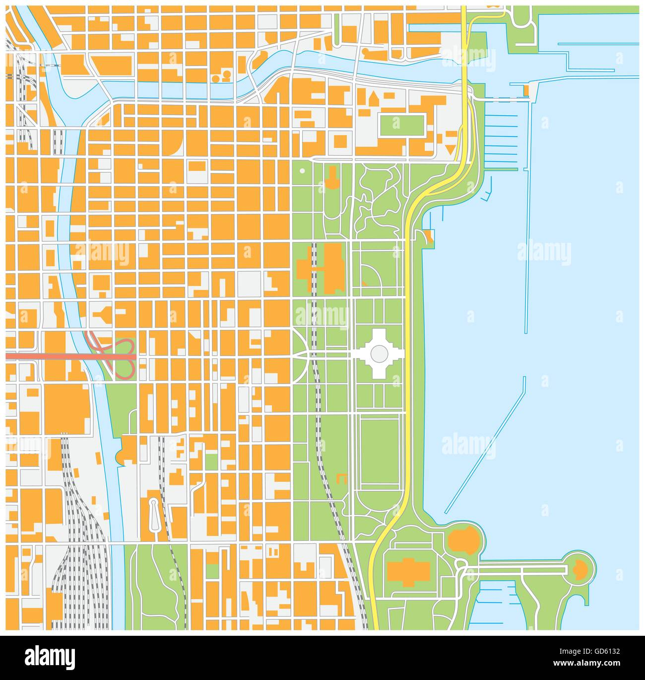 vector street map of downtown Chicago, Illinois Stock Vector Art ...