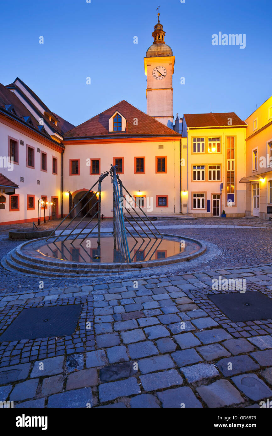 Old town hall of Uherske Hradiste as seen from its yard early in the morning. - Stock Image
