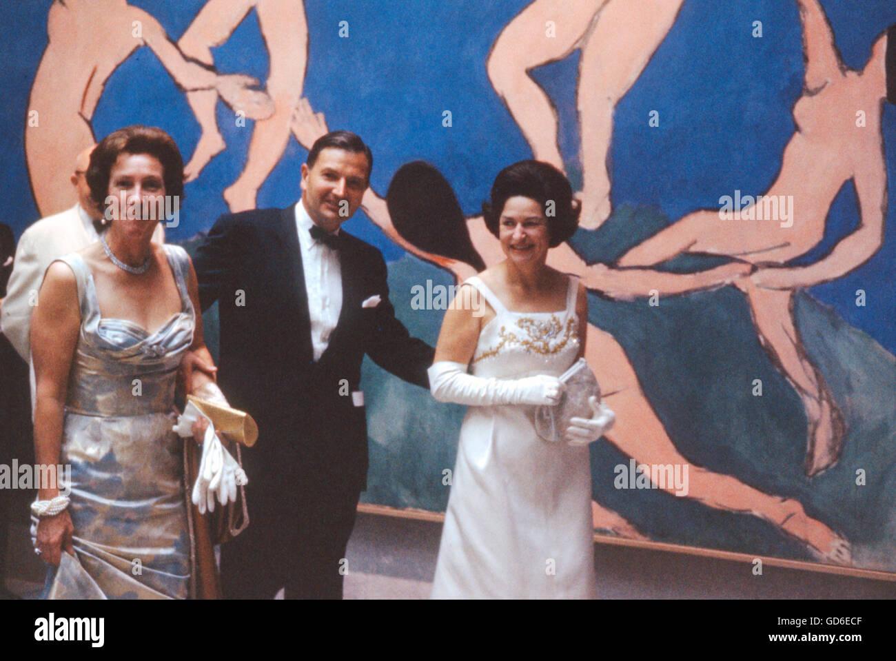 Lady Bird Johnson, David Rockefeller, and Peggy Rockefeller, Stock Photo